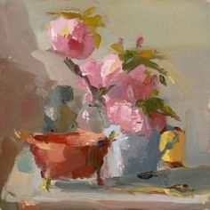 Seeking Beauty - Art Links:Christine Lafuente, Peonies and a copper bowl.