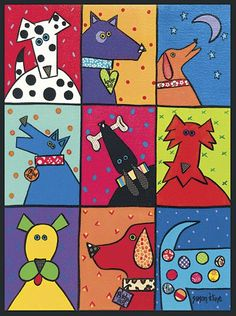 Dog Patch Pop Art by Susan Kline Art Print - Lombn Sites Arts And Crafts Projects, Projects For Kids, Lapin Art, Dog Quilts, Poster Prints, Art Prints, Pop Posters, Art Club, Whimsical Art