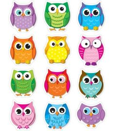 Colorful Owls Shape Stickers - Carson Dellosa Publishing Education Supplies. Saw them at Office Depot as well.