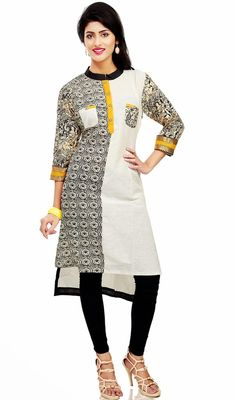 Black, off white and yellow cotton kurti is a formal straight cut kurti. Tunic is embellished with block print in sleeves and one half side of front, lace and yellow button placket. Back side has printed shirt yoke.#ClassicalTunic