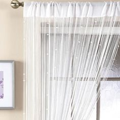 This white beaded curtain helps provide elegant discretion without stopping natural light entering the room. String Curtains, Voile Curtains, Beaded Curtains, White Beads, Home Look, Blinds, Master Bedroom, Living Room, Furniture