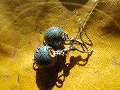 SOLD! www.etsy.com/shop/JustHeathersJewelry - Blue speckled bead earrings