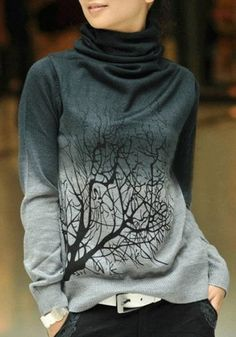 Grey Tree Print High Neck Pullover Sweater