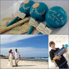 Kathy & Dominic #WeddingMaracas and Sandal #Fans  hand painted for their Wedding at Gran Bahia Principe in Akumal!