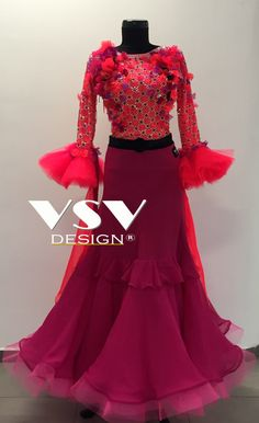 Beautiful Fluorescent red/Fuchsia ballroom dress by VSV Design, made with professionalism and tailored to the needs of our clients with attention to every detail.