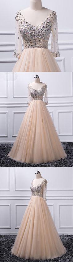 Champagne tulle V neck long mid sleeve evening dress, long beaded formal dress #prom #dress #promdress #promdresses