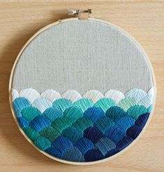 Ocean Waves Hand Embroidery 6 inch hoop by GartenCraft on Etsy Geometric Embroidery, Diy Embroidery, Cross Stitch Embroidery, Embroidery Patterns, Stitch Patterns, Cross Stitching, Textiles, Needlework, Creations