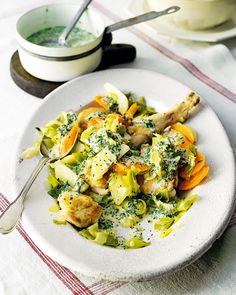 This creamy chicken casserole is made with potatoes, carrots, leeks and fresh herbs for a wonderful one-pot dinner – make sure you have crusty bread for soaking up the sauce.