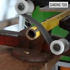 This device has the ability to change from an angle grinder to a belt sander in seconds! It's perfect for wood, metal, stainless steel polishing, grinding, effortless and quick polishing. Metal Working Tools, Work Tools, Metal Lathe Tools, Metal Bending Tools, Welding Tools, Homemade Tools, Diy Tools, Welding Projects, Diy Projects
