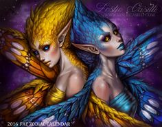Finally the Gemini Fae are here! Gemini are represented by the Twins and are an Air sign. They are cerebral, chatty, adventurous, charming and very social. Their primary colors are yellow and blue.