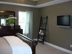 the paint color is Mocha Accent from Behr Tray Ceiling Bedroom, Bedroom Setup, Bedroom Colors, Dream Bedroom, Home Bedroom, Bedroom Decor, Bedroom Suites, Bedroom Ideas, Orange Rooms