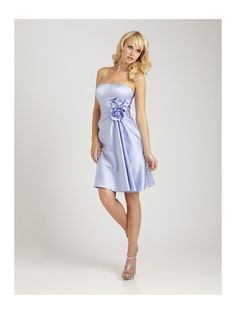 Hot Sell Brides Cheap Satin Wedding Bridesmaid Dresses A-line Tea-length With A 3-dimensional Flower
