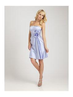 Hot Sell Brides Cheap Satin Wedding Bridesmaid Dresses A-Line Tea-Length with a 3-Dimensional flower AB1254