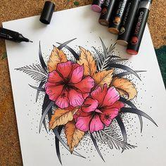 Beautiful floral illustration by @alequezada1 using their Chameleon Pens! #chameleonpens #pen #marker #alcoholmarkers #markerpen #colour #color #colouring #coloring #floral #flowers #blends #onepenblends #colourtones #colortones