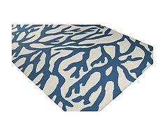 Grand bleu: Tapis LENA laine, bleu et crème - 90*60