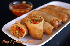 "Made these wonderful ""Veg Spring Rolls"", crispy on the outside and juice, delicious in the inside, for the Chinese New Year. Chinese New Year is also known as Spring Festival and since spring rolls are usually eaten during the Spring Festival in China, h Veggie Recipes, Appetizer Recipes, Cooking Recipes, Healthy Recipes, Egg Roll Recipes, Picnic Recipes, Dinner Recipes, Salmon Recipes, Good Vegan Recipes"