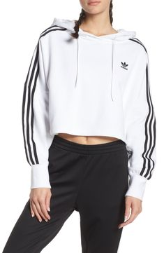 This cropped hoodie is cut from amazingly soft brushed jersey, creating a versatile look that's perfect for throwing on after a workout. Style Name:Adidas Originals Crop Hoodie. Style Number: Available in stores. Cropped Hoodie Outfit, Adidas Cropped Hoodie, Hoodie Dress, White Hoodie, Cropped Sweater, Adidas Originals, Trendy Hoodies, Adidas Fashion, Sporty Fashion