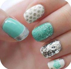 Tiffany blue & silver nail art
