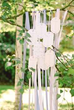 whimsical ribbon wedding table plan