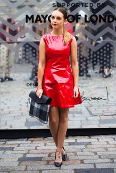 red patent leather dress with shoes