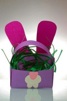 Easter basket with grass, great craft for kids