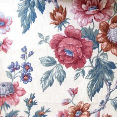 Vintage Rose Floral Material Amgard 1986 Floral Blue Pink Cotton Canvas Fabric