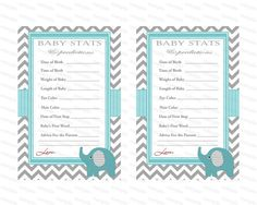 Baby Shower Games  Advice Card Baby Stats and by diymyparty