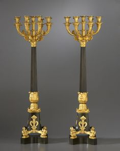 Pair of Empire gilt and patinated bronze nine-light candelabra, Pierre-Philippe Thomire, Paris,1810-15