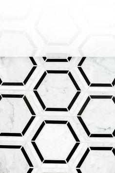 Daltile Black / White Blend Marble - x Hexagon Mosaic Wall & Floor Tile - Polished Marble Visual Large Hexagon Floor Tile, Hexagon Tiles, Tile Floor, Kitchen Room Design, Kitchen Reno, Kitchen Island, Kitchen Ideas, Small Bathroom, Bathroom Ideas
