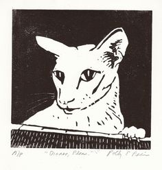 Cat at the Counter Original Linocut print by PollysStudio on Etsy