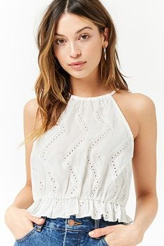 Product Name:Chevron Eyelet Top, Category:top_blouses, Girls Fashion Clothes, Teen Fashion Outfits, Girl Fashion, Clothes For Women, Crop Top Outfits, Cute Casual Outfits, Eyelet Top, Casual Tops, Blouse Designs