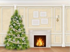 Luxury Christmas Interior with Fireplace