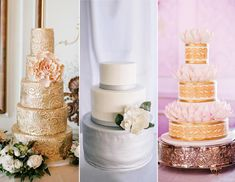 "15 Hot Wedding Cake Trends - Metallic silver and gold wedding cakesMetallics are big for stationery, and for wedding cakes as well. ""We're not talking about a gold and silver vintage style, but more a stylized glam, art-deco, old-Hollywood look"