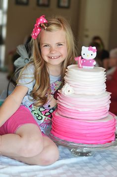 {HELLO KITTY BIRTHDAY PARTY} FREE PINTABLES I love this cake, but would definitely not do a three tier cake for a little girls party.