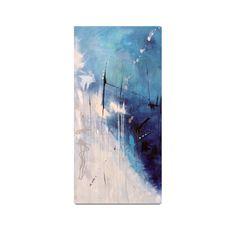 """Toile galerie contemporaine abstraite bleue et blanche. Verticale. 18""""x36""""x1,5""""…"""