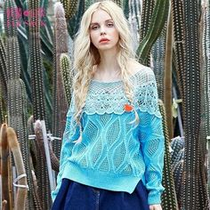 Elf SACK spring sweet lace patchwork cutout loose sweater female long-sleeve pullover w