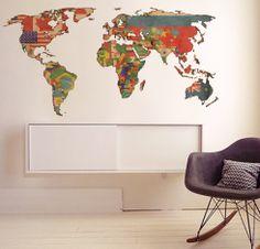 Adesivo Mapa Mundi: decoração para a casa do viajante