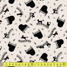 Kokka Fabric Piano Kitties Natural FQ of Metre Cat Kitten Music Musical Musician