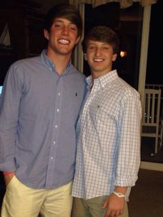 Two guys in a #RalphLauren and #Vineyard Vines button down shirts.