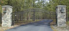 Entry Gate Designs with Columns | Ornamental Iron Powder Coated Gate With Brick Columns And Lights