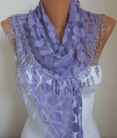 ON SALE -  50% OFF Lilac Tulle Lace Scarf -  scarf shawl - best selling scarf Women Fashion Accessories