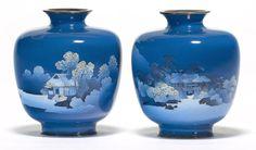 A pair of fine cloisonné enamel vases By the workshop of Namikawa Yasuyuki (1845-1927), Meiji period (late 19th century)