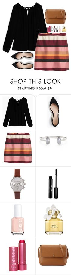 """Senior year is two weeks in and I already want to pull my hair out to relieve the strain placed on my brain😭"" by oliviavt ❤ liked on Polyvore featuring Max&Co., J.Crew, Kendra Scott, Olivia Burton, Stila, Essie, Marc Jacobs, Fresh and Tory Burch"