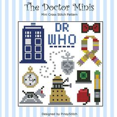 Doctor+Who+Mini+Icons+Mini+Cross+Stitch+Sampler++by+PinoyStitch,+$5.00