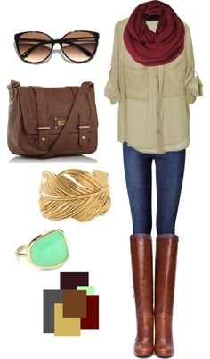 cute outfit...could use CAbi side pocket blouse with skinny jeans, riding boots, scarf, and bangles