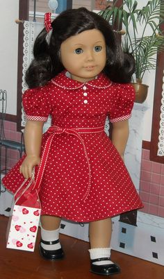 1930s 1940s Red and White Polka Dot Print Dress for 18 inch Girls like Molly, Emily on Etsy, $65.00
