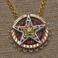 Handmade Star on Circle Necklace by oscarcrow on Etsy, $28.00