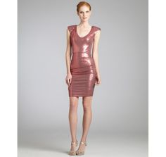 Nicole Miller coral stretch sequined v-neck ruched dress