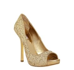 Miu Miu                                                                                                                                                                                                                                                                                                                                                                                                                              gold glitter peep toe pumps