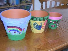 Terracotta potten verven(ook leuk voor jarige opa's,oma's,tantes...enz....)